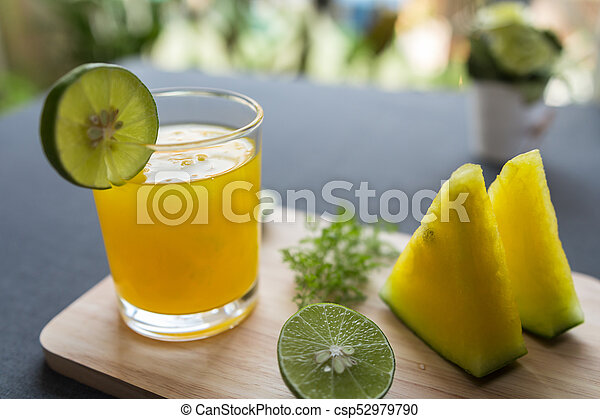 Watermelon juice with yellow pulp with lime - csp52979790