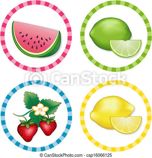 Watermelon, Lime, Strawberry. Lemon - csp16066125