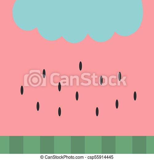 Watermelon Pattern Background Wallpaper Simple Flat Design Vector