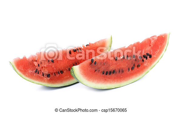 Watermelon slice isolated on white background - csp15670065