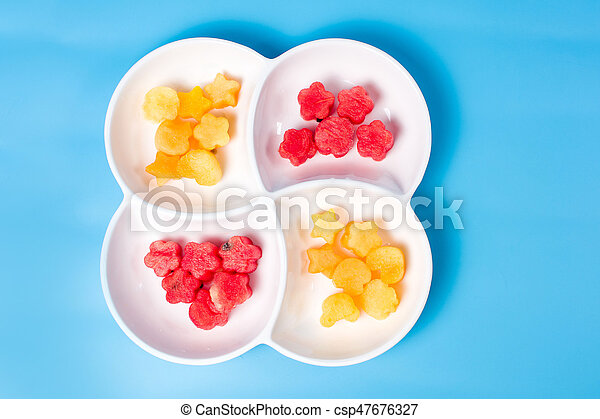 Watermelon slices on a plate - csp47676327