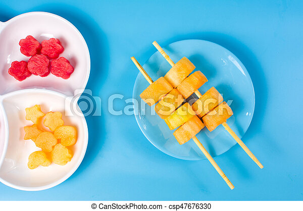 Watermelon slices on a plate - csp47676330