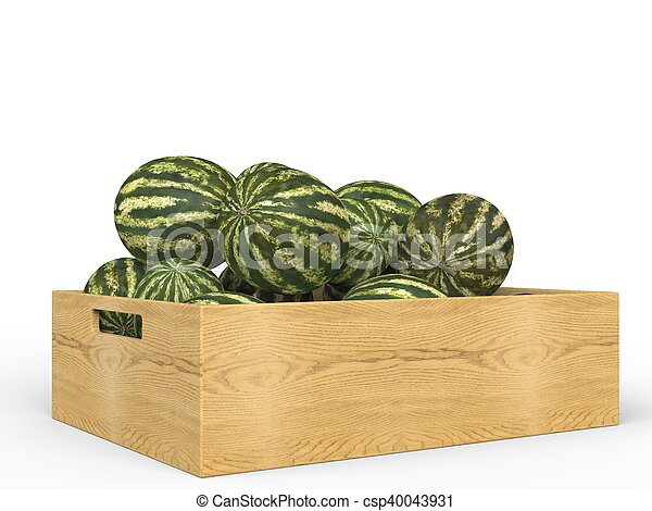 Watermelons in wooden crate - csp40043931