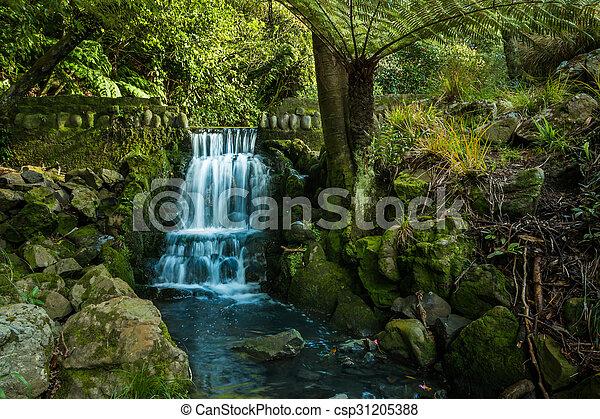 Waterval In Tuin : Waterval tuin. waterfall. prachtig groene tuin gebied.