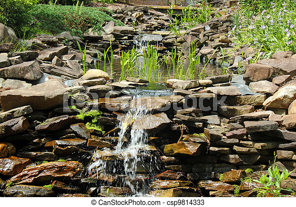 Waterval In Tuin : Kleine waterval tuin rots.