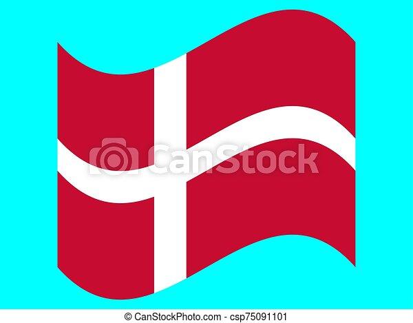 Wave Flag of Denmark Vector illustration. EPS10 - csp75091101