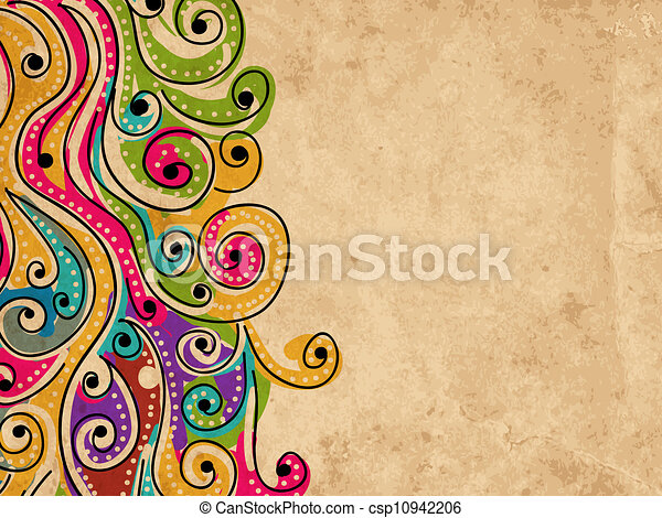 Wave hand drawn pattern for your design, abstract grunge background - csp10942206