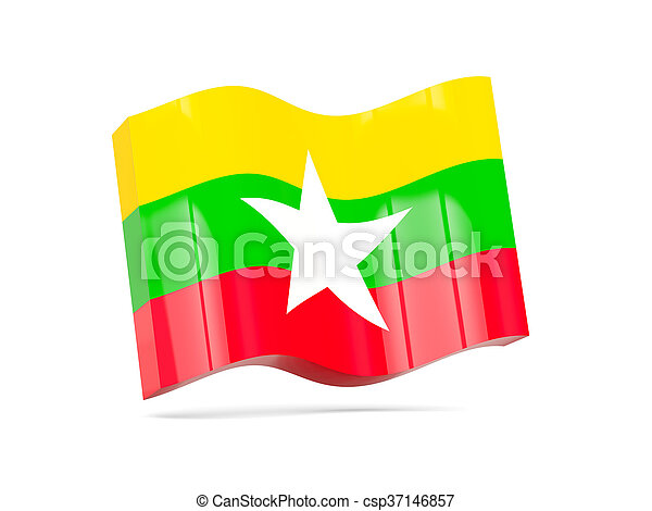 Wave icon with flag of myanmar - csp37146857