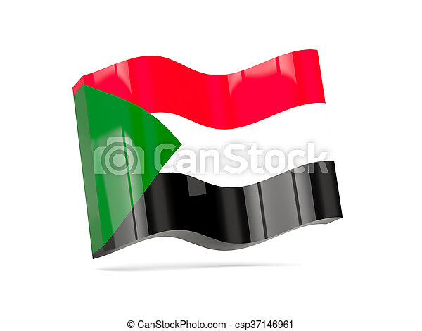 Wave icon with flag of sudan - csp37146961