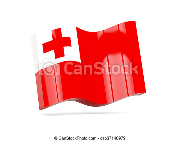 Wave icon with flag of tonga - csp37146979