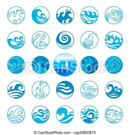 Wave Icons Set Water Symbol Or Logo Design Ocean Sea Beach Flat