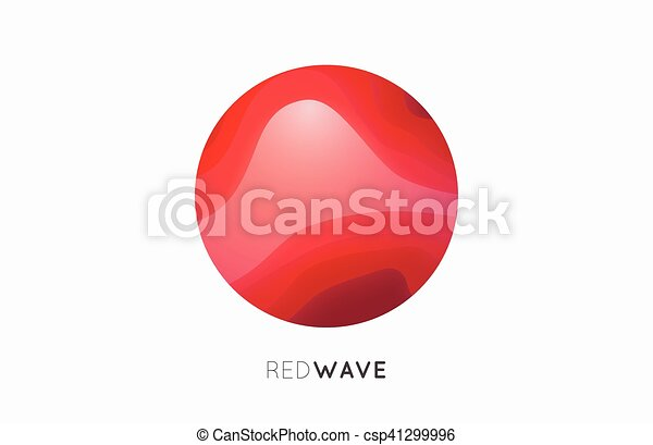 Wave logo. Business Icon. Red . Company - csp41299996