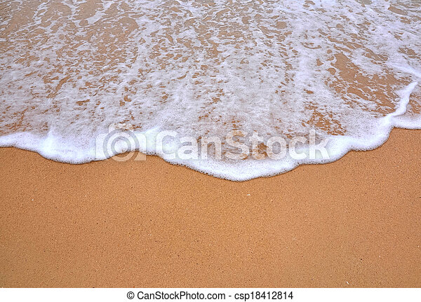 wave of sea on the sandy beach - csp18412814
