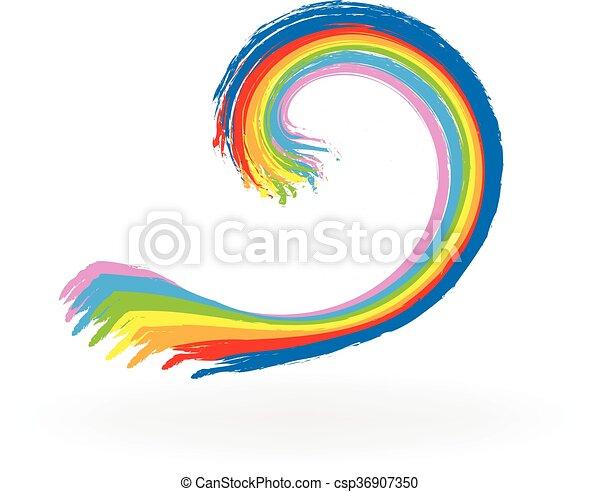 Wave paint watercolor  - csp36907350
