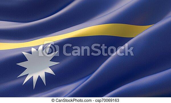 Waved highly detailed close-up flag of Nauru. 3D illustration. - csp70069163