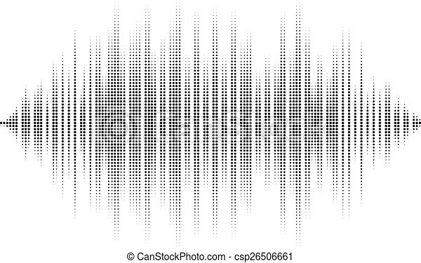 Waveform background isolated. Black and white halftone vector sound waves. You can use in club, radio, pub, party, DJ, concerts, recitals or the audio technology advertising background. - csp26506661