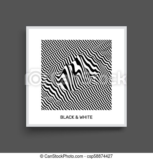 Waveform background. Surface distortion. Pattern with optical illusion. Vector striped illustration. Black and white sound waves. Cover design template. - csp58874427