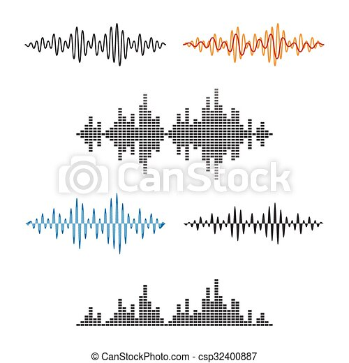 Waveform Shape. Soundwave. Audio Wave Graph Set. Vector - csp32400887