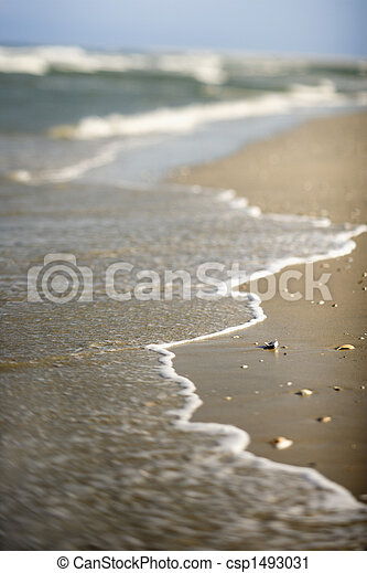 Waves coming onto shore. - csp1493031