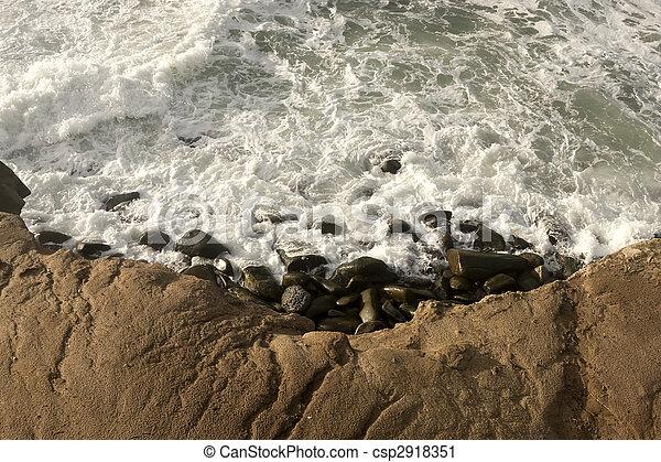 Waves Crashing on Shore - csp2918351