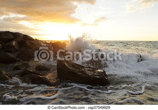 Waves Crashing - csp37049929