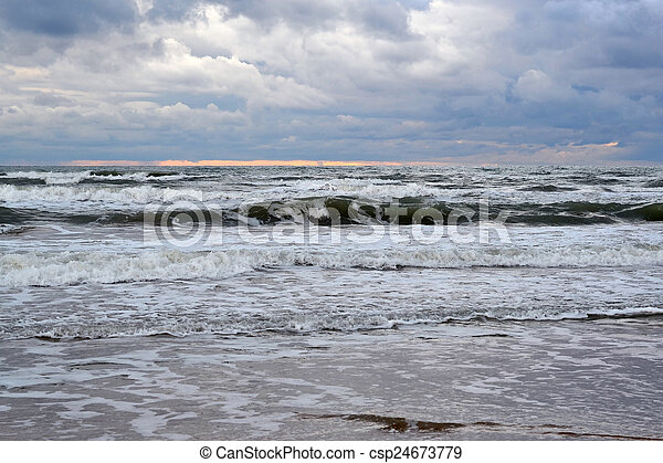 Waves of the Black Sea. Cloudy weather. - csp24673779