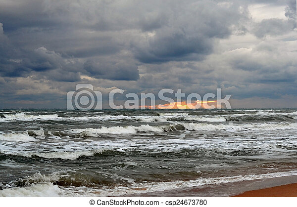 Waves of the Black Sea. Cloudy weather. - csp24673780