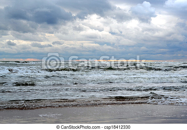 Waves of the Black Sea. Cloudy weather. - csp18412330
