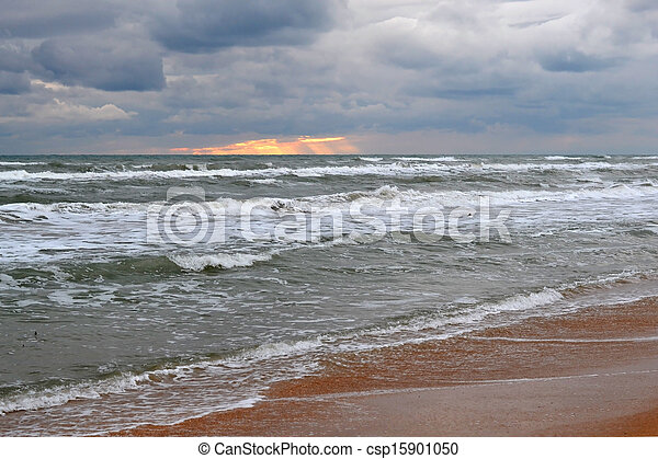 Waves of the Black Sea in cloudy weather. - csp15901050