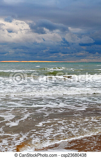Waves of the Black Sea in rainy weather. - csp23680438