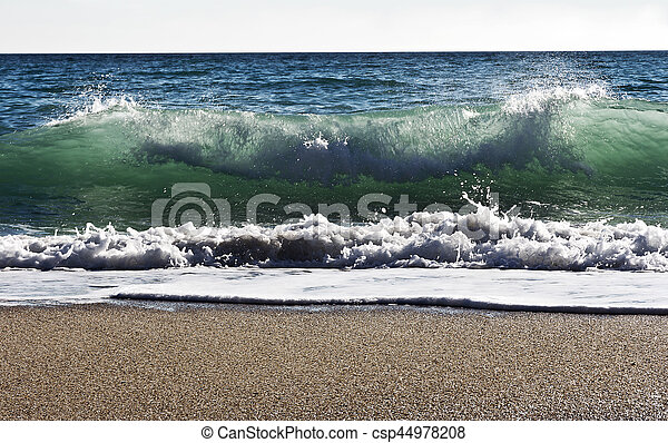 Waves on the beach of the Black Sea in Bulgaria - csp44978208