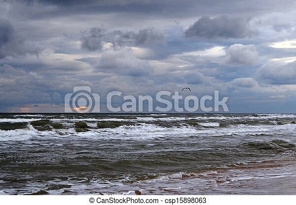 Waves on the sea in cloudy weather - csp15898063