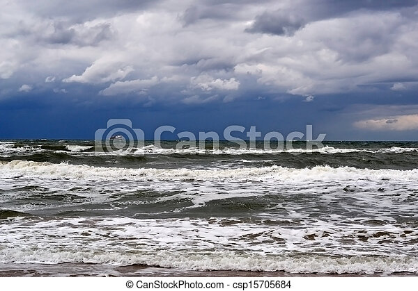 waves on the sea in rainy weather - csp15705684