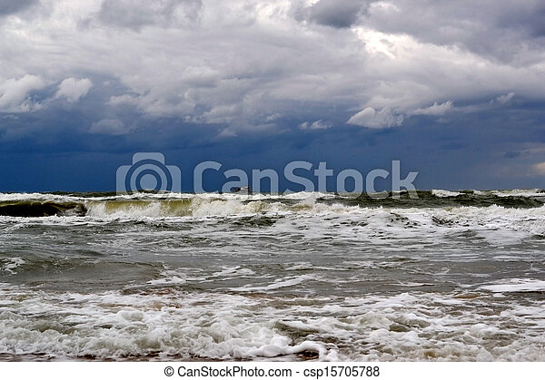 waves on the sea in rainy weather - csp15705788