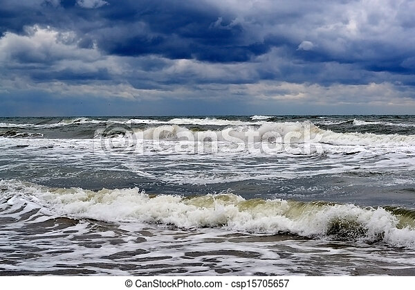 waves on the sea in rainy weather - csp15705657