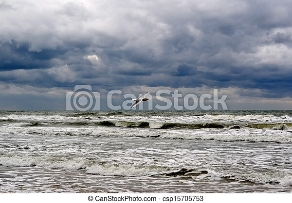 waves on the sea in rainy weather - csp15705753