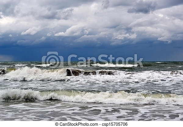 waves on the sea in rainy weather - csp15705706