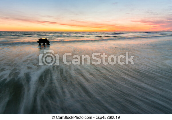 Waves rolled on the shore of the Black Sea, photographed with long exposure, Anapa, Russia - csp45260019
