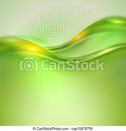 waving, abstratos, experiência verde - csp15978705