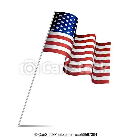 Waving American Flag Isolated On White Background Flag Of The