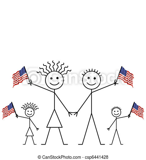 Family Celebrating An Event Waving American Flags With Copy Space