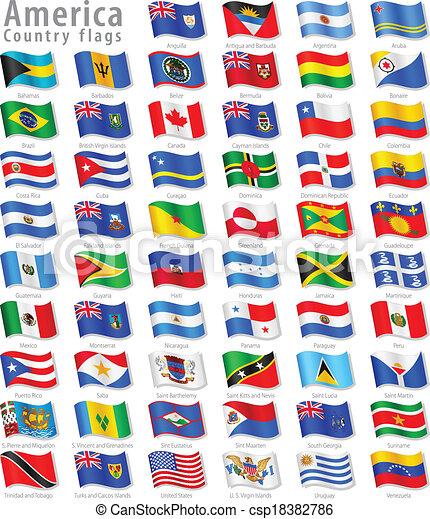 waving, americano, vetorial, jogo, bandeira - csp18382786