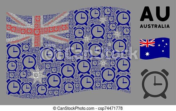 Waving Australia Flag Collage of Alarm Clock Icons - csp74471778