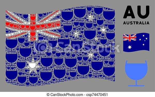 Waving Australia Flag Collage of Alcohol Glass Icons - csp74470451