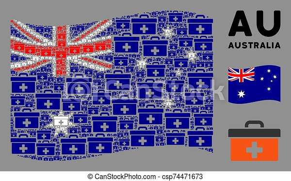 Waving Australia Flag Collage of First Aid Toolbox Icons - csp74471673