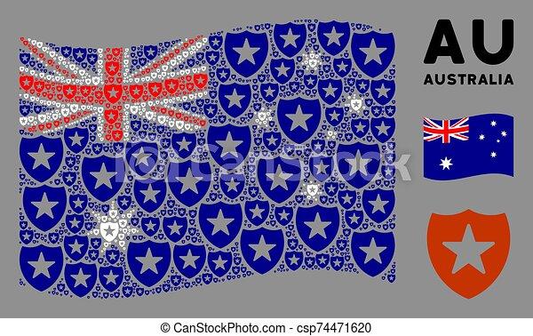 Waving Australia Flag Collage of Guard Items - csp74471620