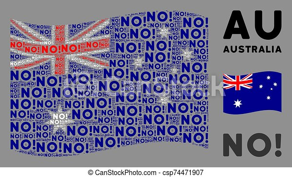 Waving Australia Flag Collage of No Texts - csp74471907
