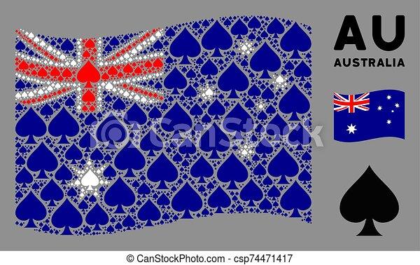 Waving Australia Flag Collage of Peaks Suit Icons - csp74471417