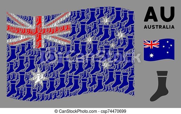 Waving Australia Flag Collage of Sock Icons - csp74470699