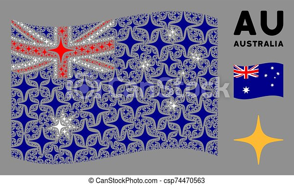 Waving Australia Flag Collage of Space Star Icons - csp74470563